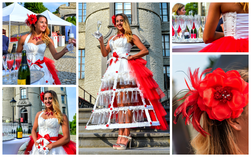 Champagne / Prosecco Girls WIT-ROOD - (Modellen D114)