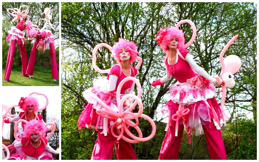 Roze Circus Clowntjes - (Steltenlopers)
